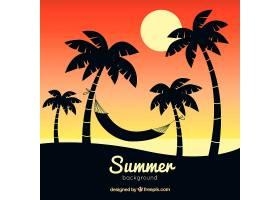 夏日背景棕榈树剪影_2232723