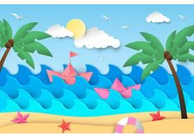 夏日背景海滩和棕榈树_8377743