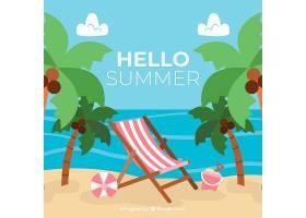 夏日背景海滩和棕榈树呈平坦风格_2190149