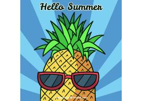 夏日背景配上滑稽的菠萝_2190198