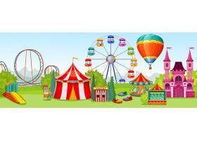 以夏季自然景观为背景的极致娱乐景点游乐园_10346770