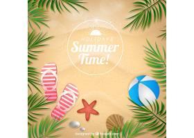 以夏日元素为背景的棕榈叶沙子_890954