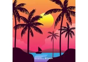 以棕榈剪影为背景的海滩日落_4920524