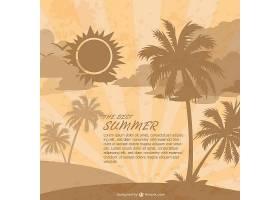 以棕榈树为背景的复古夏日海滩_715972