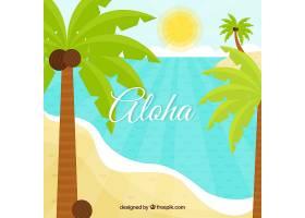 以棕榈树为背景的热带海滩_2620321