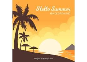 夏日落日背景可欣赏海滩景色_2148298
