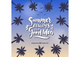 以棕榈树和刻字为背景的夏日_2347459
