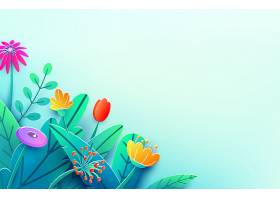 夏日边用剪纸勾勒出奇幻的花朵树叶孤零_10817172