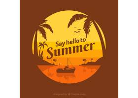 以棕榈树和刻字为背景的夏日_2347463
