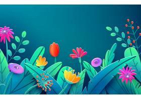 夏日边用剪纸勾勒出奇幻的花朵树叶树干_10817170