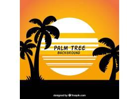 以棕榈树的剪影为背景的夏季景观_1105920