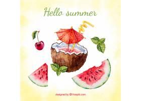 以椰子和西瓜为背景的水彩画夏日背景_2221286