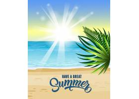 用大海热带海滩日出和棕榈叶来迎接美好_2540738
