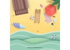 以纸质样式从顶部背景开始的海滩_2487903