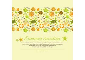 用航海插图装饰的夏日背景_10464228
