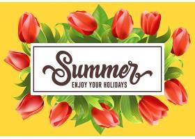 用郁金香框上的字样祝你的假期过得愉快_2541708