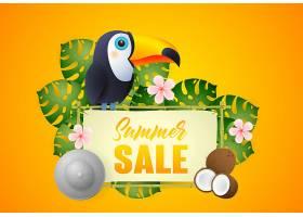 印有珍奇鸟类和植物的夏季特卖会字样_4559005
