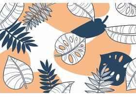 线形热带树叶粉色壁纸_8134778