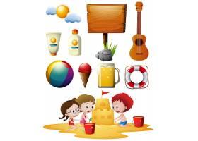 在海滩上玩耍的儿童和其他海滩用品_1175954
