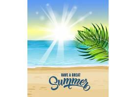 有一张很棒的夏日贺卡上面有海洋热带树_2540737