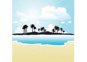 在阳光明媚的天空和海滩的衬托下热带岛屿的_1106947