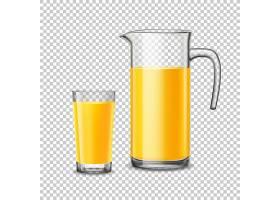 透明背景上有橙汁的玻璃杯和水壶_4016996