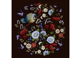 绣花五彩图案配以花卉装饰_4320703