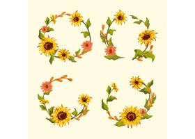 向日葵花环和徽章向量集_3748321