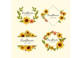 向日葵花环和徽章向量集_3748322