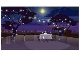 屋顶上的浪漫晚餐配有上菜的餐桌插图_3297803