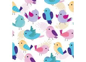 图案上有可爱的五颜六色的小鸟_1585898