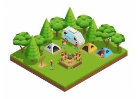 徒步旅行等距构图由一群人组成他们在树_4017175