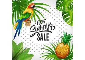 新的夏季打折字样热带背景有树叶鹦鹉_2541253