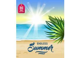 无尽的夏日有大海热带海滩日出和棕榈_2540655