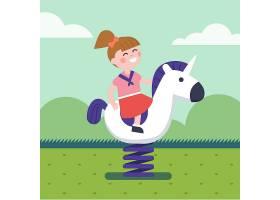 在公园操场骑春马的女孩_1311382