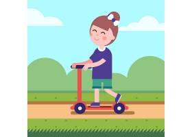 在公园路上骑着踢踏车的女孩_1311381