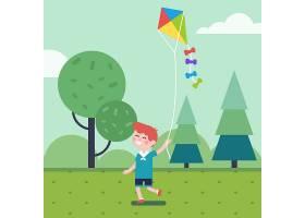 在公园里玩风筝的男孩_1311385