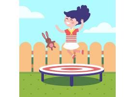 在后院的蹦床上跳跃的女孩_1311374