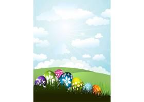 在阳光明媚的风景背景下草地上五颜六色的_1062442