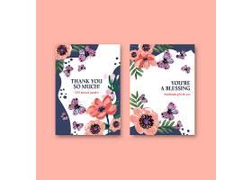 邀请函水彩画画笔花卉概念设计感谢卡模板_11953423