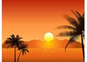 有棕榈树的热带日落景象_1112653
