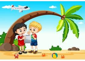 有海滩和飞机背景的儿童在旅行时使用平板电_10805177