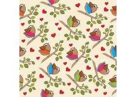 有趣的无缝图案带装扮的鸟_1218125