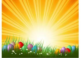 阳光明媚的日子里草地上的复活节彩蛋_4350042