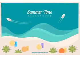 夏天的背景有船和毛巾_1108711