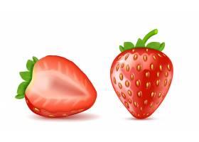 逼真的红色成熟草莓整个和半独立的背景_3090497