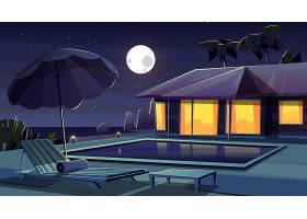 酒店夜间的矢量卡通背景_4393932