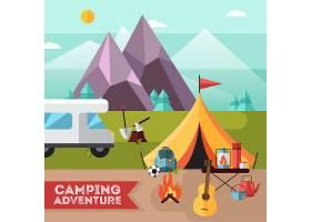 露营和徒步旅行探险用帐篷吉他的扁平海报_3910299