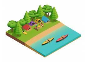 露营徒步旅行与湖面上的帐篷和游船上的游_4017176