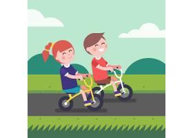 骑自行车的小男孩和小女孩_1311400
